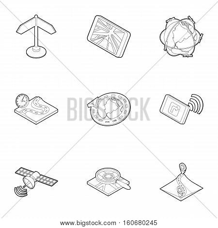 GPS navigation icons set. Outline illustration of 9 gps navigation vector icons for web