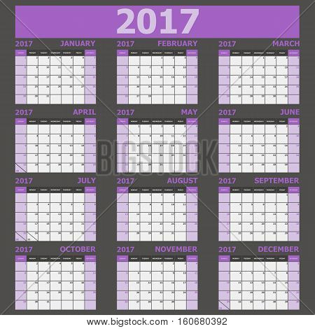 Calendar 2017 week starts on Sunday (purple tone), stock vector