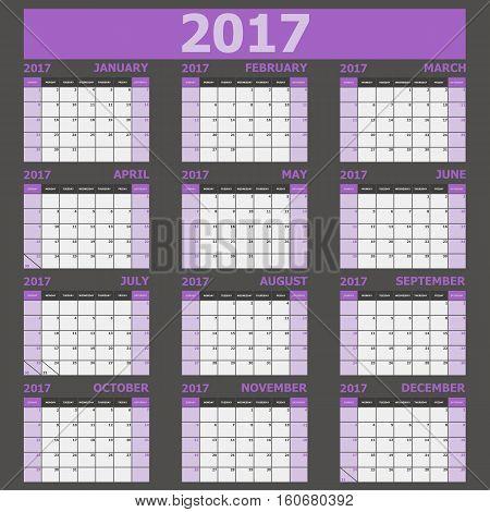 Calendar 2017 week starts on Sunday (purple tone), stock vector