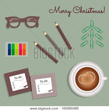 Stationery:To Do Lists with a cute polka dots and little hearts.Multi-colored stiсkers. Cup with coffee on saucer.Burgundy glasses.Pencils.Staples in the form of a Christmas tree.Vector illustration.