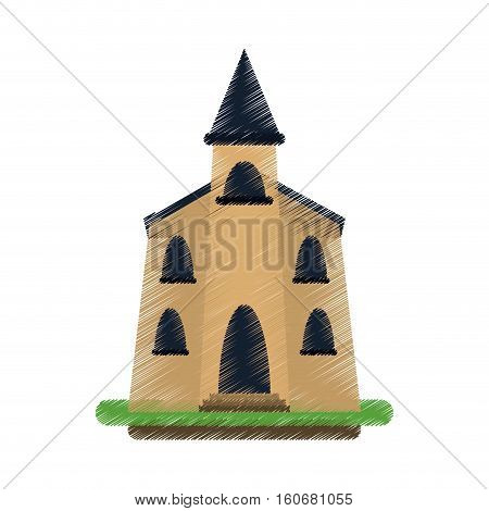 colored church building religious christian vector illustration eps 10