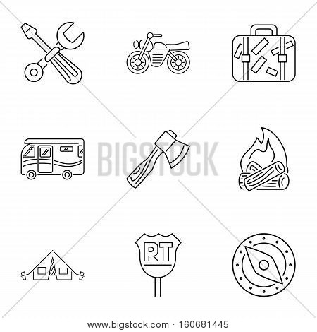 Encampment icons set. Outline illustration of 9 encampment vector icons for web