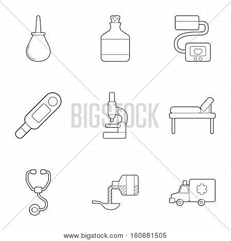 VIP treatment icons set. Outline illustration of 9 VIP treatment vector icons for web