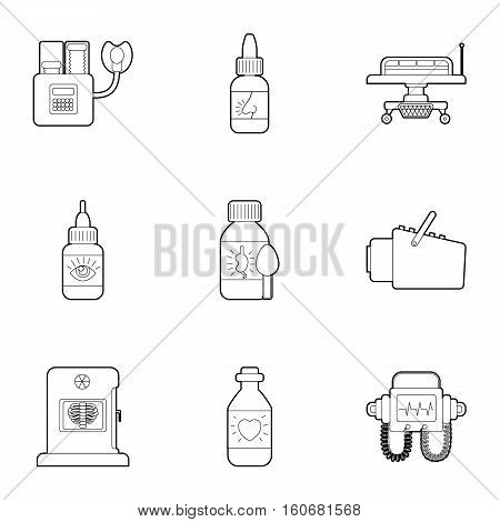 Diagnostic center icons set. Outline illustration of 9 diagnostic center vector icons for web