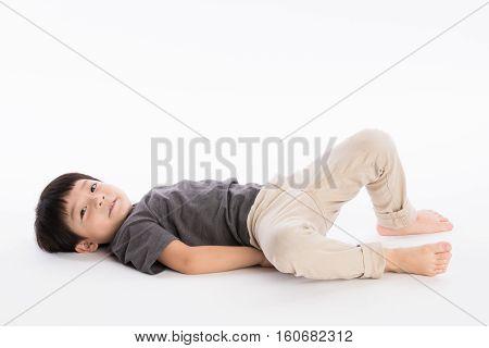 5 year old Asian man child's studio portrait shoot - isolated