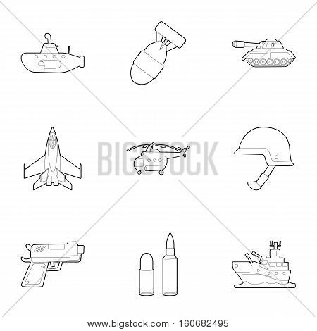 Weaponry icons set. Outline illustration of 9 weaponry vector icons for web