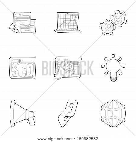 Optimization icons set. Outline illustration of 9 optimization vector icons for web