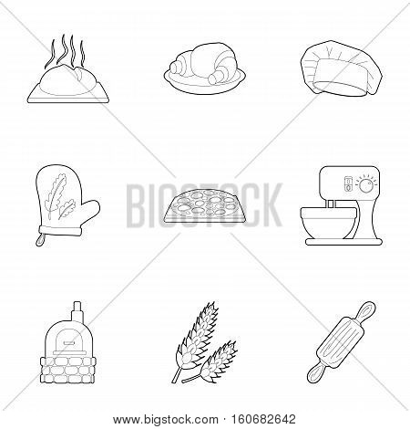 Patisserie icons set. Outline illustration of 9 patisserie vector icons for web