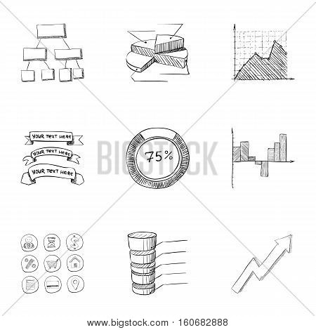 Firm icons set. Hand drawn illustration of 9 firm vector icons for web