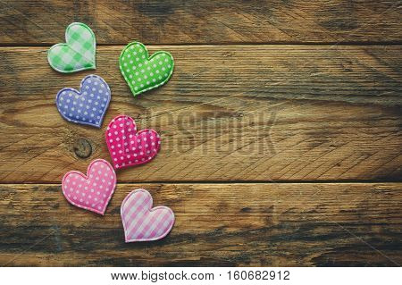 valentine's day background border simple tissue heart on wooden table plank rustic style