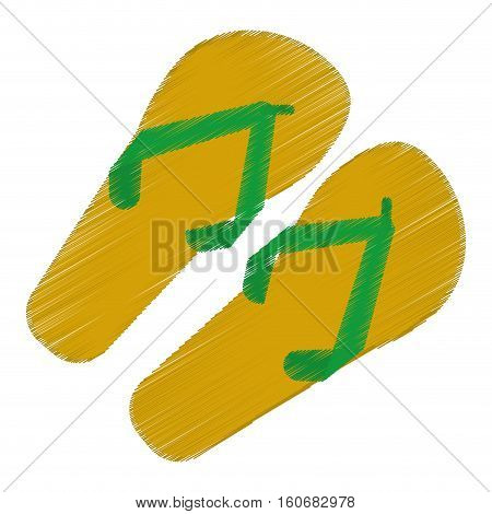 drawing green and yellow flip flop brasilian vector illustration eps 10