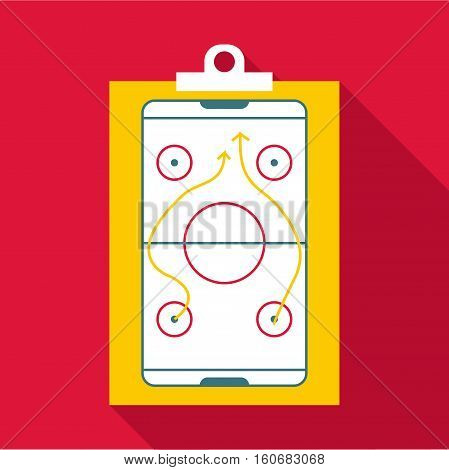 Hockey game plan icon. Flat illustration of hockey game plan vector icon for web design