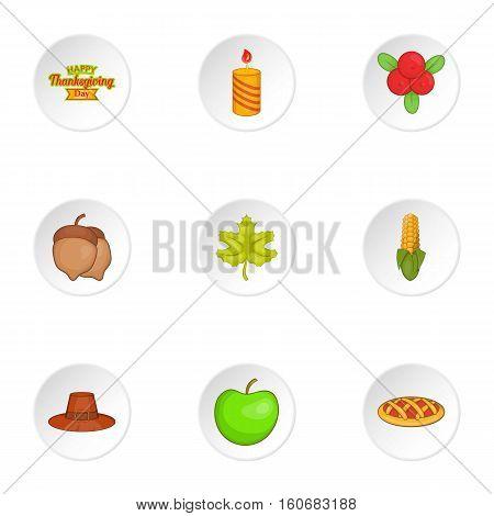 Thanksgiving feast icons set. Cartoon illustration of 9 thanksgiving feast vector icons for web