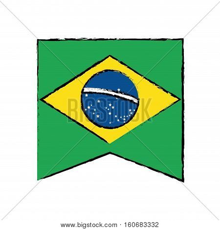 brasilian flag hanging symbol draw vector illustration eps 10