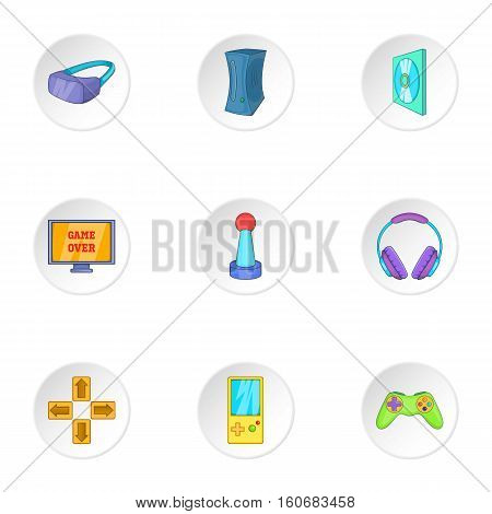 Play station icons set. Cartoon illustration of 9 play station vector icons for web