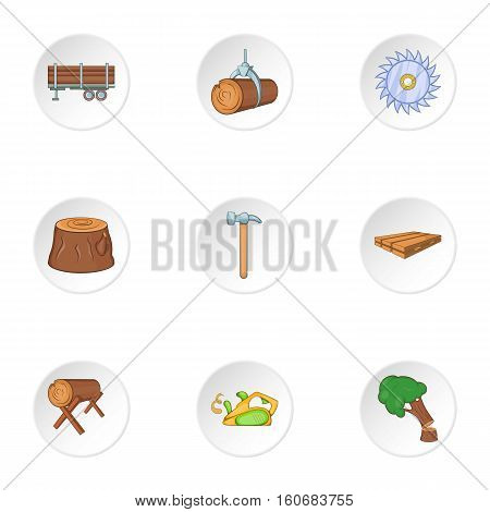 Sawing woods icons set. Cartoon illustration of 9 sawing woods vector icons for web