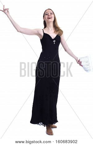 Professional opera singer with musical notebook on a white background