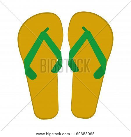 green and yellow flip flop brasilian vector illustration eps 10