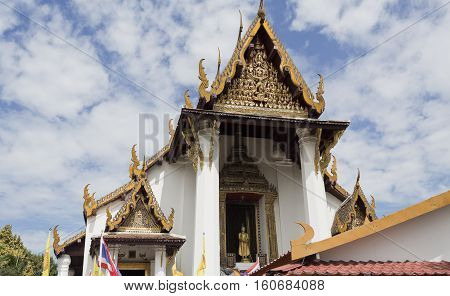 AYUTTHAYA, THAILAND - November 4, 2016: Wat Na Phra Men monastery famous for its gold Buddha and roof carvings from the 13th century.