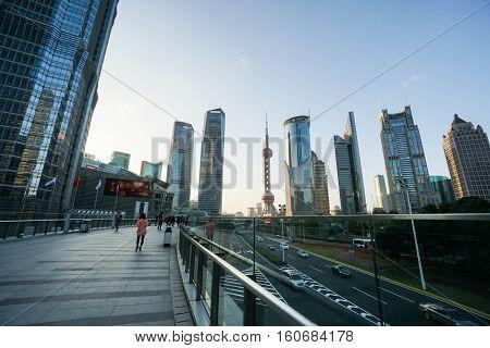 sky walkway to Oriental Pearl Tower in Shanghai taken on 15 November 2016