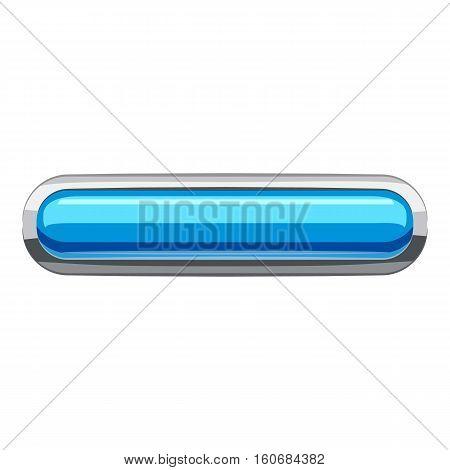Sky blue rectangular button icon. Cartoon illustration of rectangular button vector icon for web design