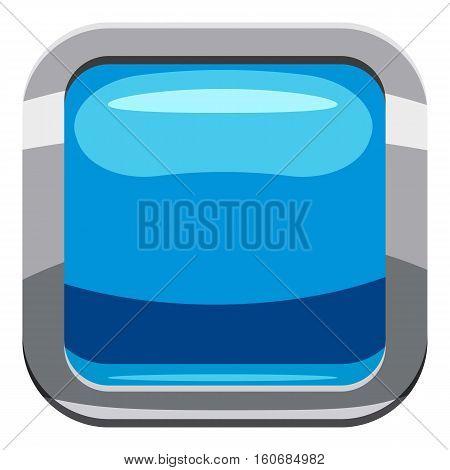 Sky blue square button icon. Cartoon illustration of square button vector icon for web design