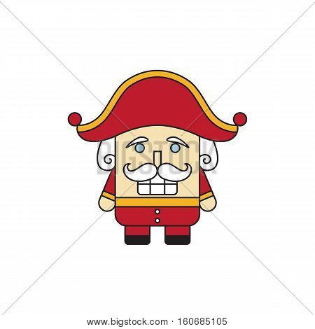 Cute cartoon nutcracker isolated on white. Vector illustration.