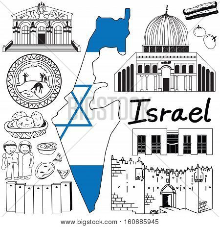 Travel to Israel doodle drawing icon. Doodle with culture costume landmark and cuisine of Israel with friendly Palestine tourism concept in isolated background create by vector