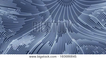 Array with Dynamic Particles. 3d Futuristic Technology Style. Abstract Background. Texture. Glowing points. Vector Illustration.