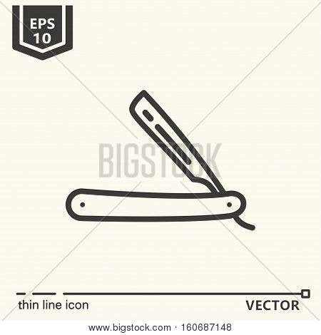 Hairdressing Tools. Icons Series. Straight Razor.