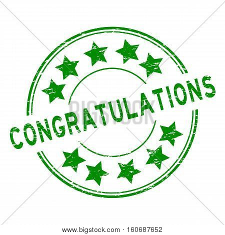 Grunge green congratulations with star icon round rubber stamp