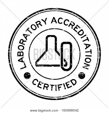 Grunge black laboratory accreditation certified with glassware icon rubber stamp