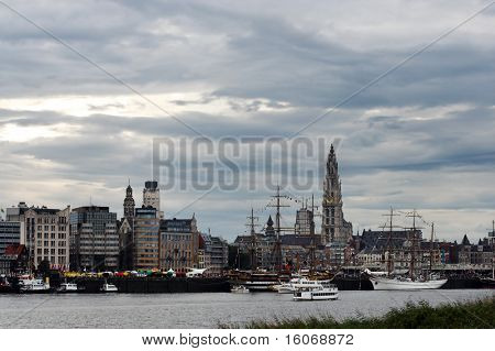 Skyline of Antwerp, alongside the river Scheldt, during the 50th Tall Ships Race in 2006
