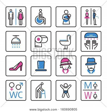 Toilet icons vector lady and male room set. Bathroom wc illustration toilet icons outline gentleman restroom set. Man bath sanitary toilet hygiene lavatory information.
