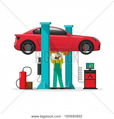 Car repair shop station vector illustration, slat style repairman working under lifted auto using diagnostics tools equipment, mechanic man repairing automobile in workshop garage isolated on white