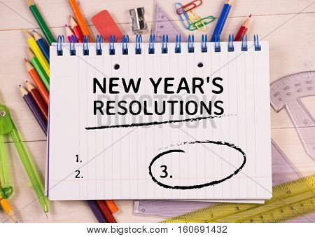 List of new year resolution goals written on spiral diary