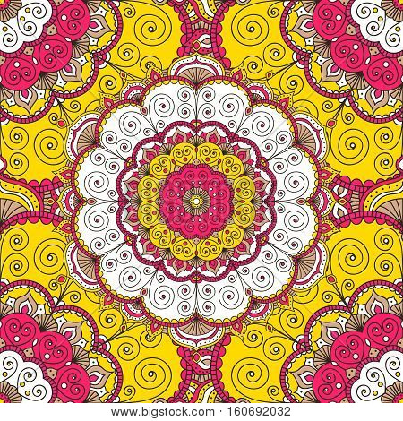 Vector seamless pattern with hand drawn doodle mandala. Indian tribal ornament. Yellow pink brawn and white colors. Colorful ethnic background.