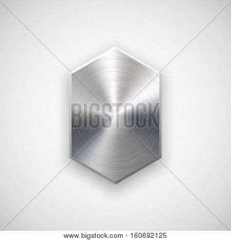 Abstract technology geometric badge, blank button template with metal texture, chrome, silver, steel, realistic shadow and light background for design concepts, web, banners, apps. Vector illustration