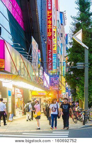 Tokyo Akihabara Vertical Store Signs Buildings