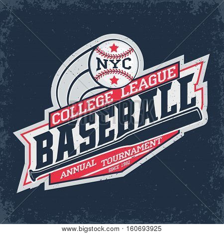 Vintage t-shirt graphic design,  grange print stamp, baseball typography emblem, sports logo Creative design, Vector