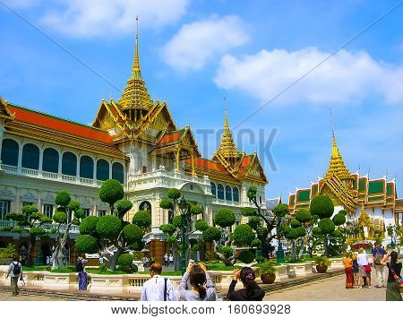 The Royal Palace palace of the king of Thailand at Bangkok. Opened as a tourist destination in Asia.