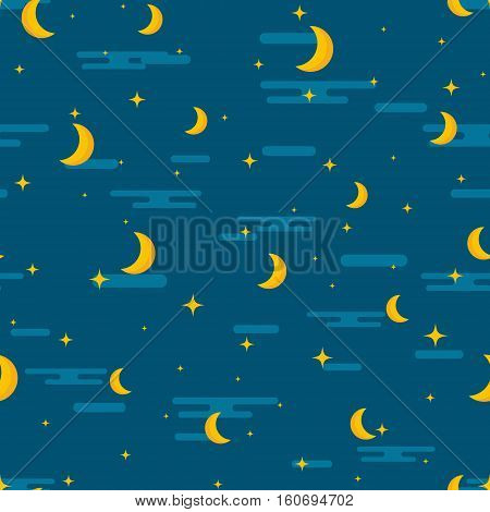 Night sky seamless pattern design. Moon stars and clouds repetitive print. Children or kids lullaby repeating background for textile wrapping paper clothes pillow etc. Baby cartoon vector illustration.