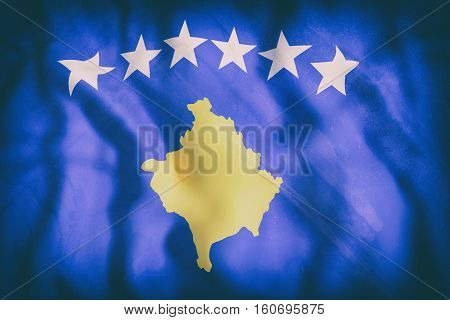 3d rendering of an old Kosovo flag waving poster
