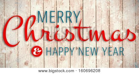 Merry christmas message against digitally generated grey wooden planks