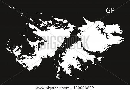 Falkland Islands Map Black And White Illustration