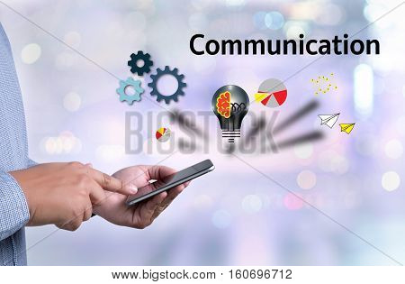Connection Communication Ideas ,   Communication Connection Social Network Concept , Casual People M