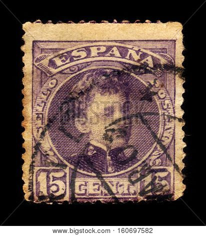 SPAIN, CIRCA 1902: stamp printed in Spain , shows portrait of a young King Alfonso XIII, circa 1902