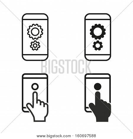 Digital interaction vector icons set. Illustration isolated for graphic and web design.