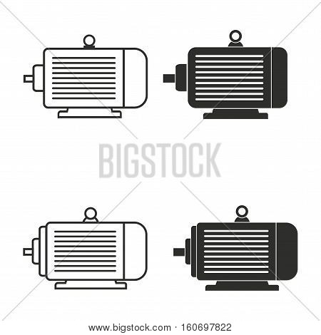 Electric motor vector icons set. Illustration isolated for graphic and web design.
