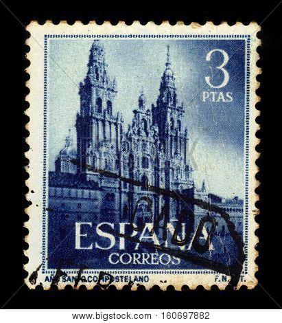 SPAIN, CIRCA 1954: stamp printed in Spain shows western facade of cathedral of Santiago de Compostela in Galicia, Spain, circa 1954